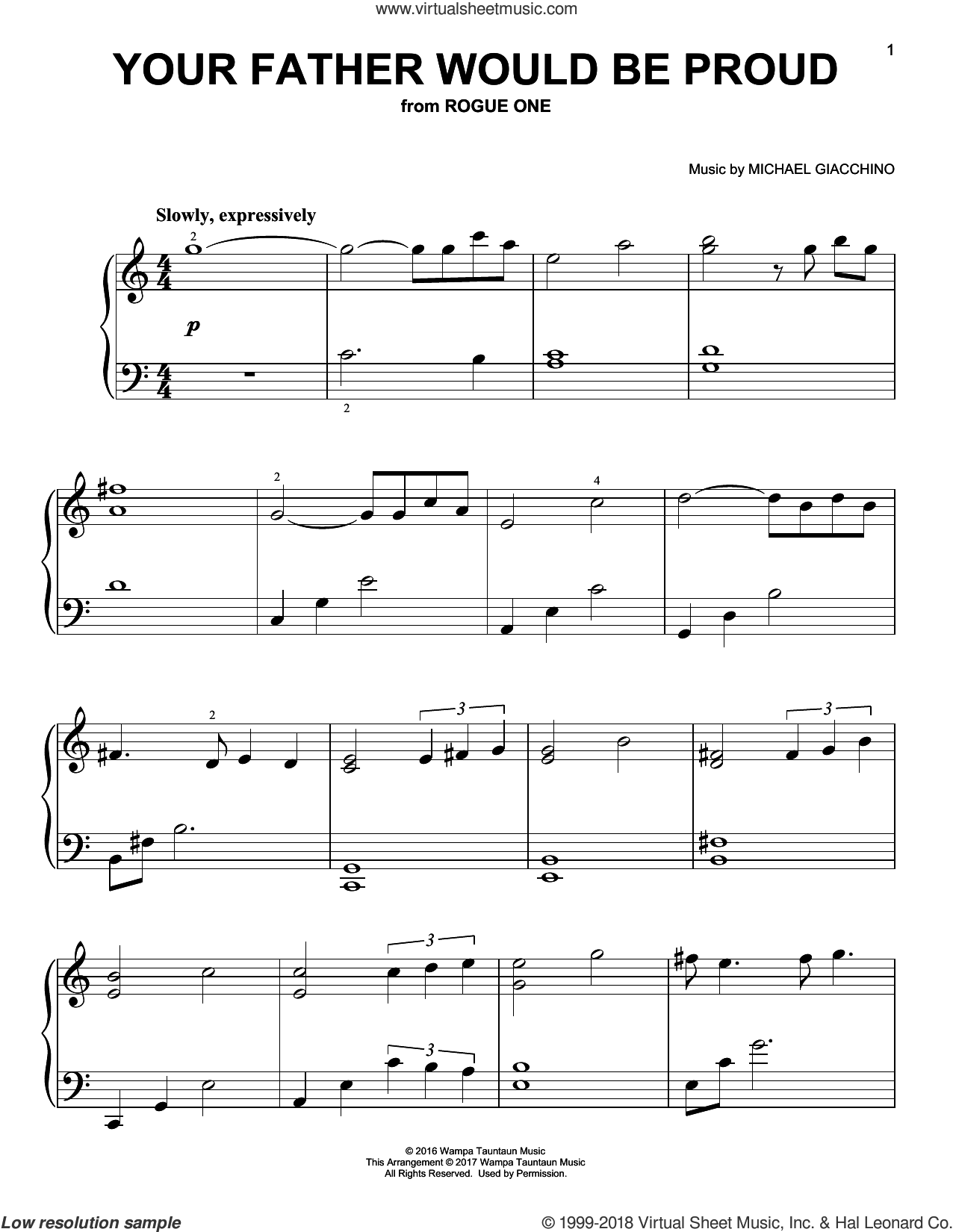 Your Father Would Be Proud, (easy) sheet music for piano solo by Michael Giacchino, classical score, easy skill level