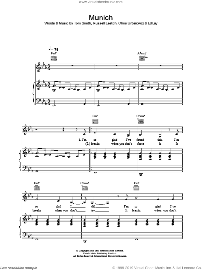Munich sheet music for voice, piano or guitar by Corinne Bailey Rae and Editors, intermediate. Score Image Preview.