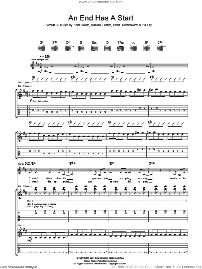 An End Has A Start sheet music for guitar (tablature) by Chris Urbanowicz and Tom Smith