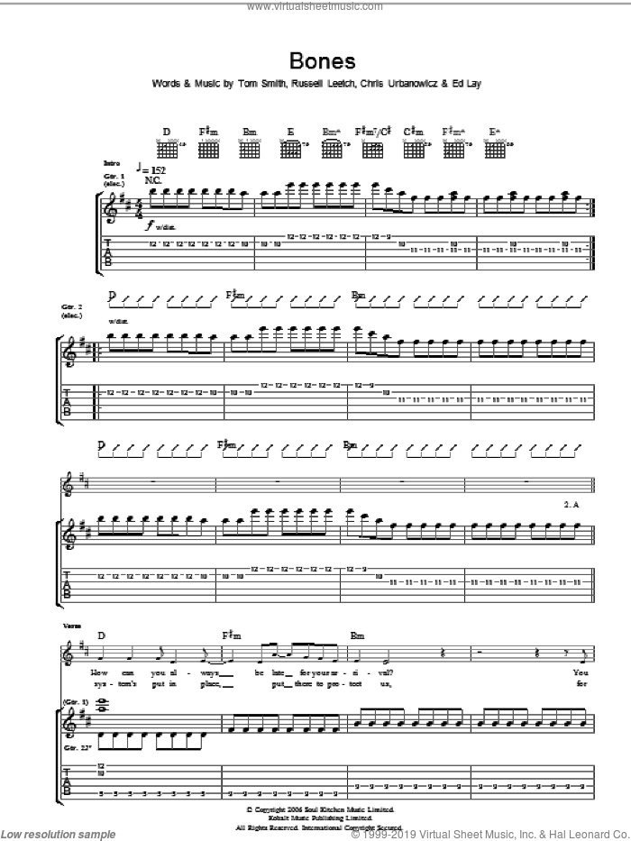Bones sheet music for guitar (tablature) by Chris Urbanowicz and Tom Smith. Score Image Preview.