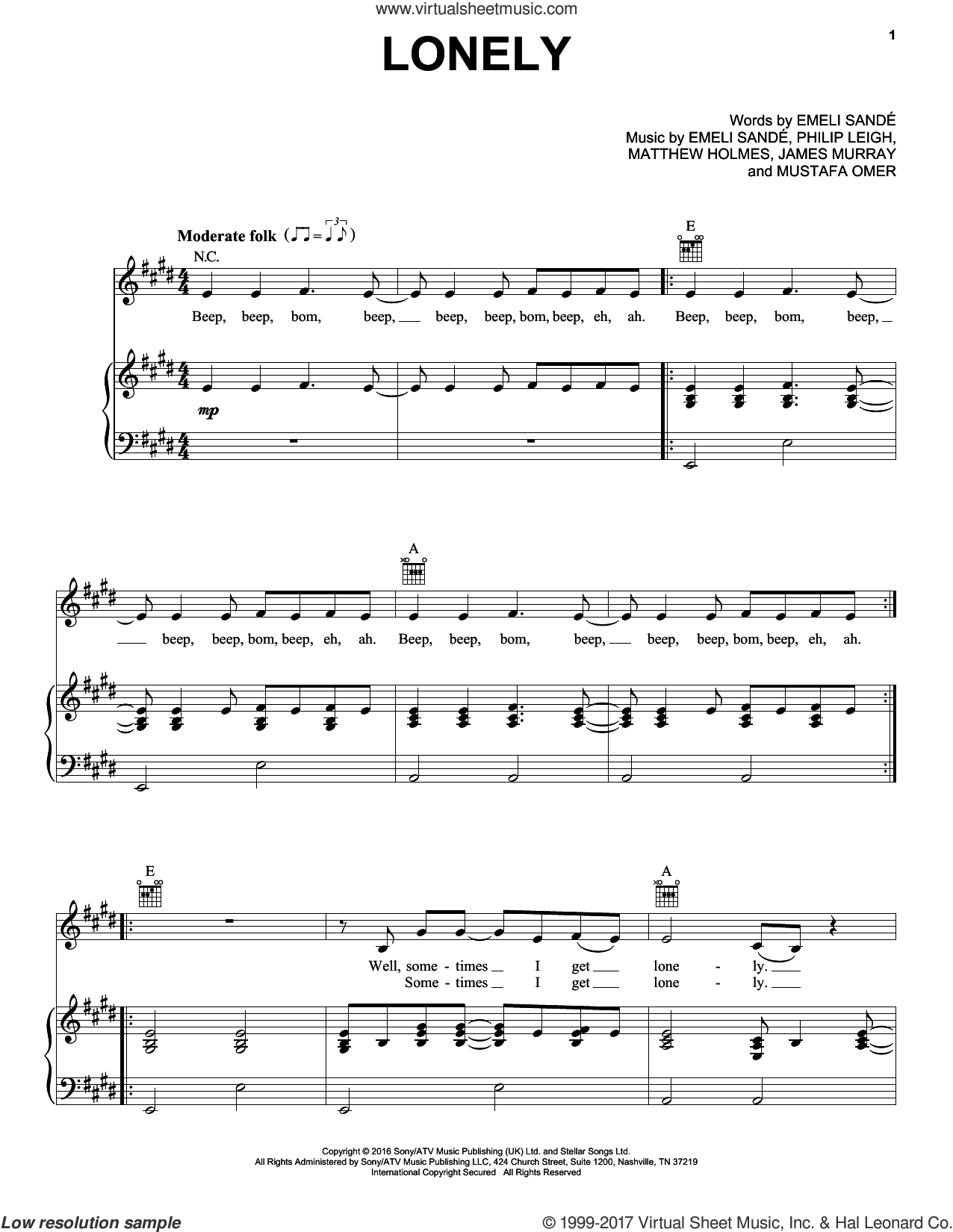 Lonely sheet music for voice, piano or guitar by Emeli Sande, James Murray, Matthew Holmes, Mustafa Omer and Philip Leigh, intermediate skill level