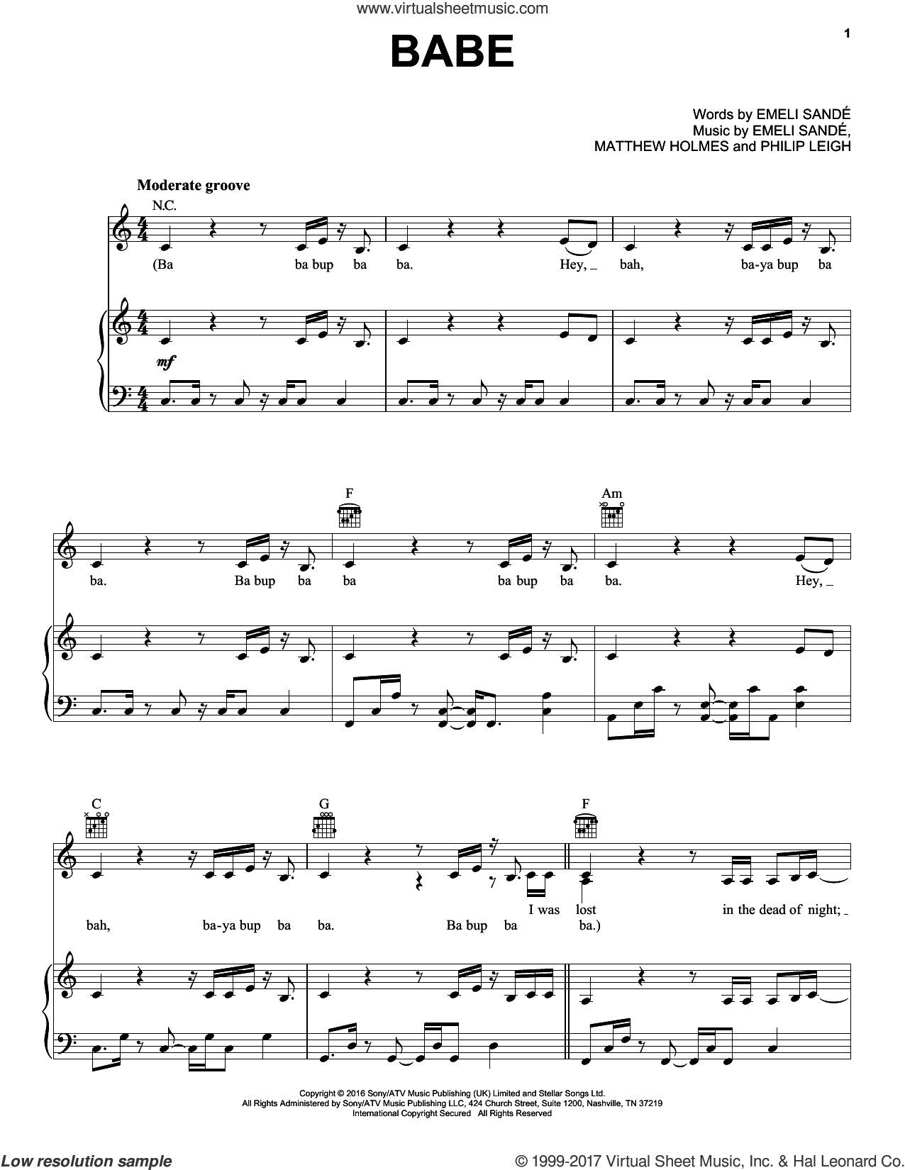 Babe sheet music for voice, piano or guitar by Philip Leigh and Emeli Sande. Score Image Preview.