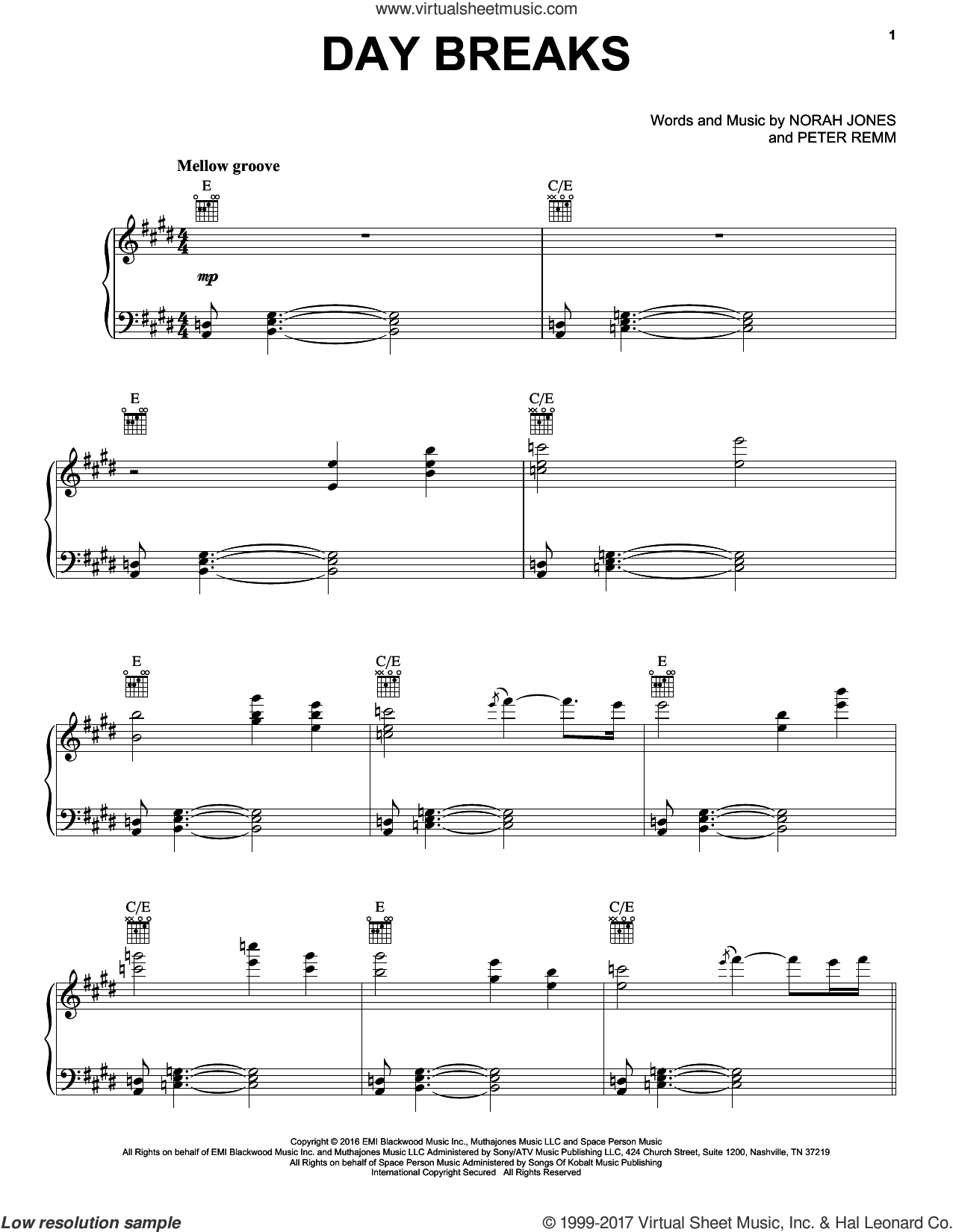 Day Breaks sheet music for voice, piano or guitar by Norah Jones and Peter Remm, intermediate skill level