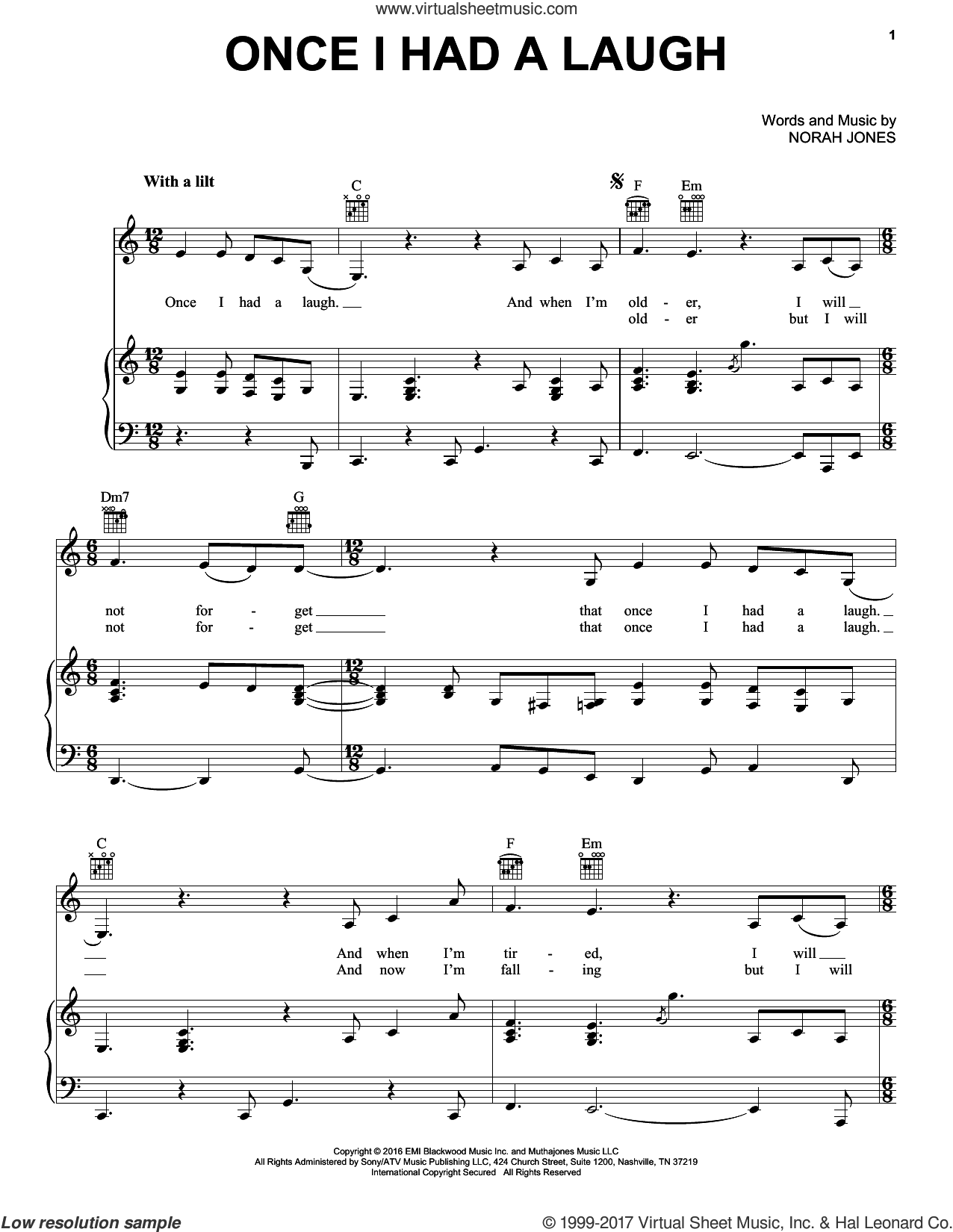 Once I Had A Laugh sheet music for voice, piano or guitar by Norah Jones. Score Image Preview.