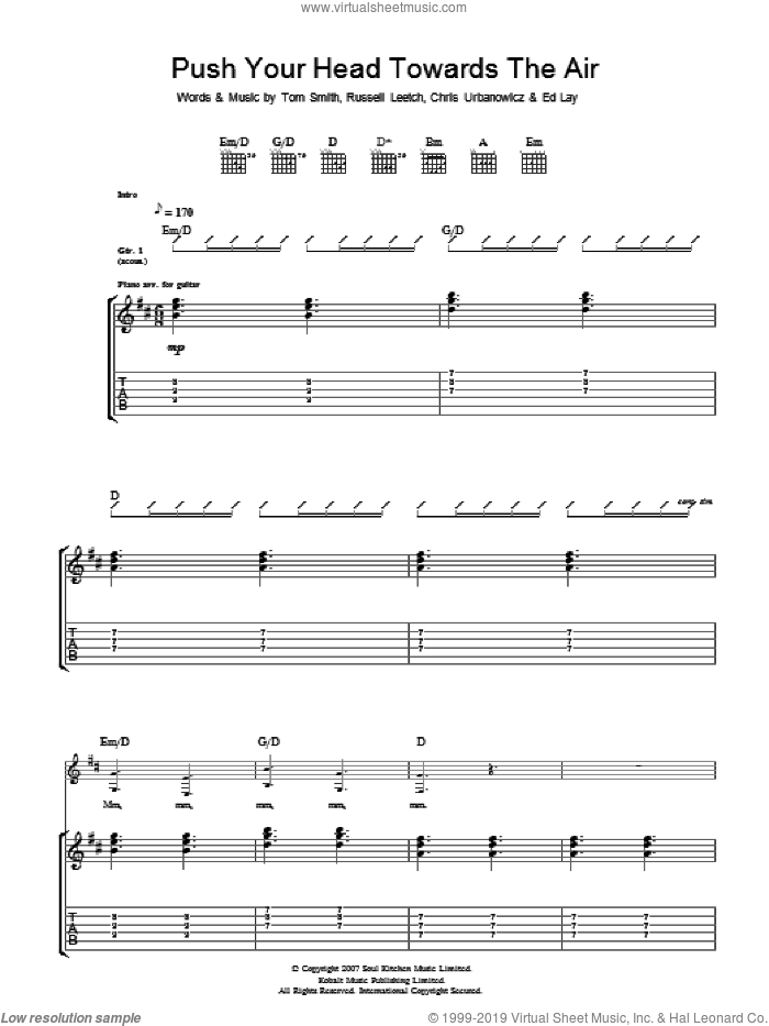 Push Your Head Towards The Air sheet music for guitar (tablature) by Editors. Score Image Preview.