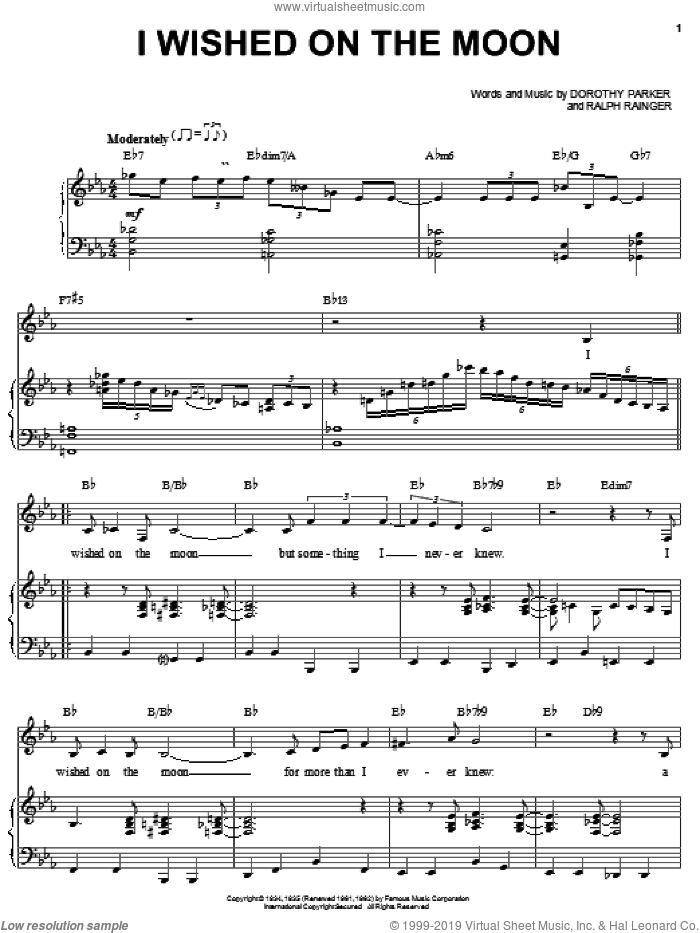 I Wished On The Moon sheet music for voice, piano or guitar by Bill Perkins, Dorothy Parker and Ralph Rainger, intermediate skill level