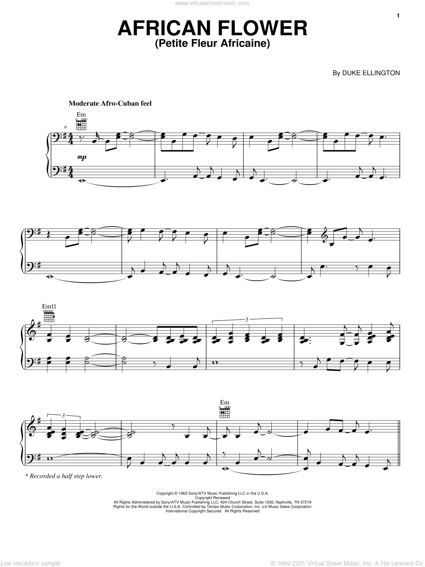 African Flower (Petite Fleur Africaine) sheet music for voice, piano or guitar by Norah Jones and Duke Ellington, intermediate skill level