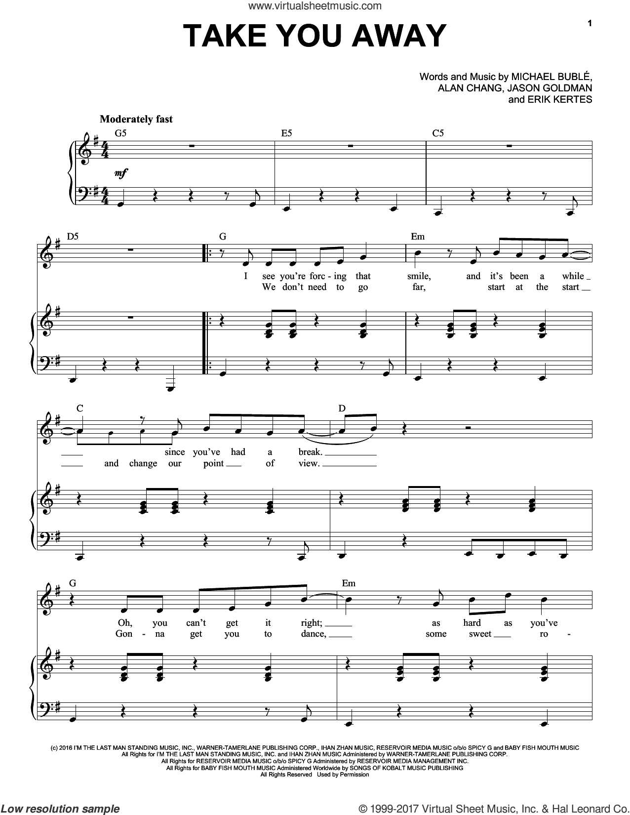 Take You Away sheet music for voice and piano by Michael Buble, Alan Chang, Erik Kertes and Jason Goldman, intermediate skill level