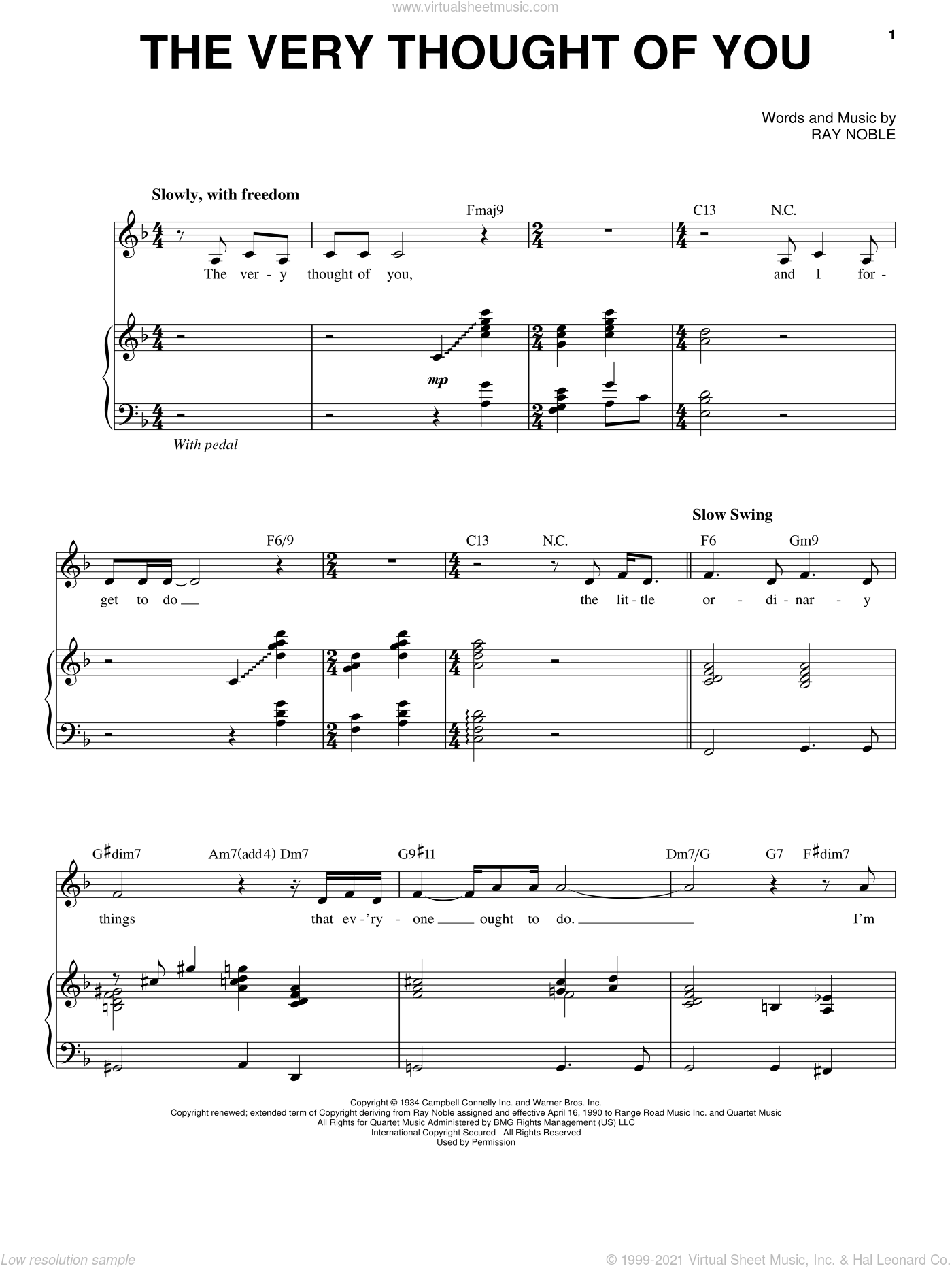 The Very Thought Of You sheet music for voice and piano by Michael Buble, Frank Sinatra, Kate Smith, Nat King Cole, Ray Conniff, Ricky Nelson and Ray Noble, intermediate skill level