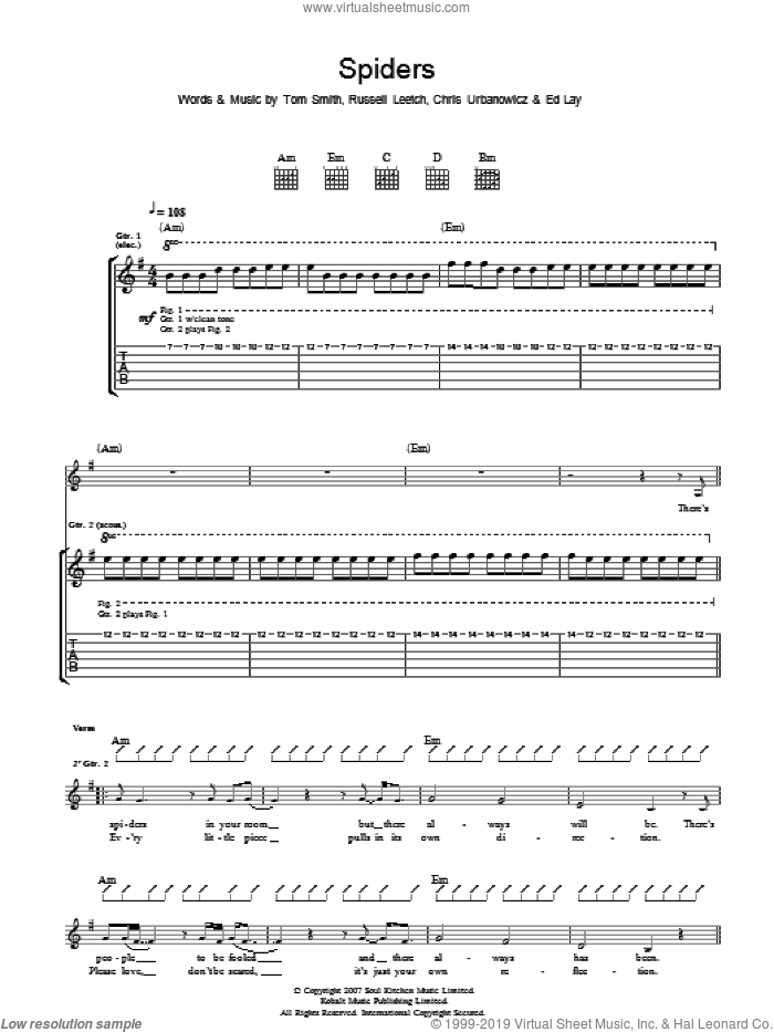 Spiders sheet music for guitar (tablature) by Editors. Score Image Preview.