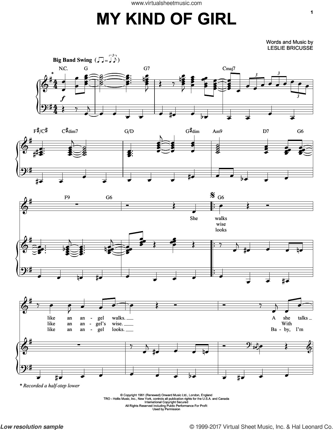My Kind Of Girl sheet music for voice and piano by Michael Buble, Michael BublA�A� and Leslie Bricusse. Score Image Preview.