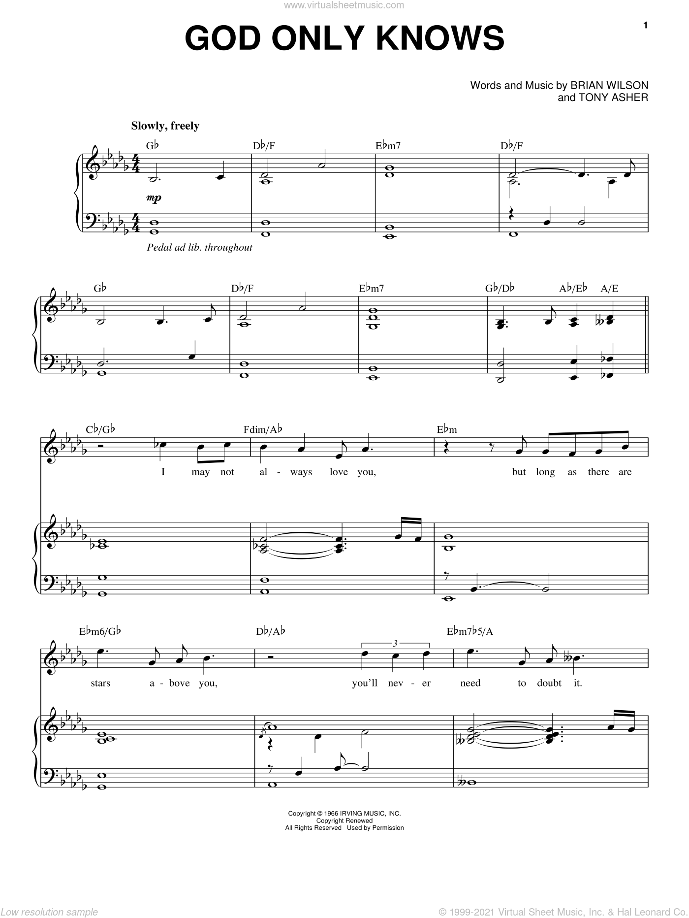 God Only Knows sheet music for voice and piano by Michael Buble, The Beach Boys, Brian Wilson and Tony Asher, intermediate skill level