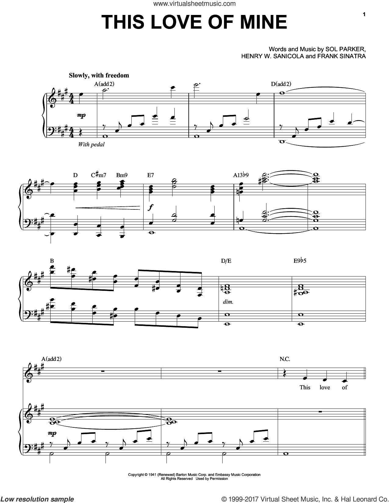 This Love Of Mine sheet music for voice and piano by Michael Buble, Frank Sinatra, Henry W. Sanicola and Sol Parker, intermediate skill level