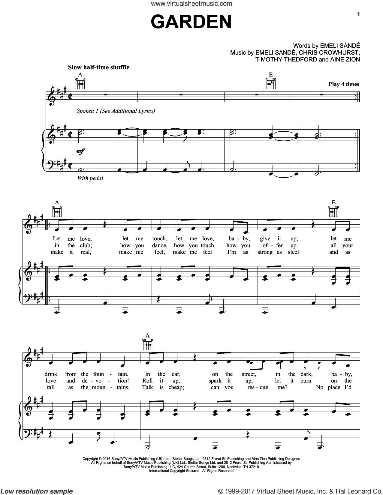 Garden sheet music for voice, piano or guitar by Emeli Sande featuring Jay Electronica & Aine Zion, Emeli SandA�A� and Emeli Sande. Score Image Preview.
