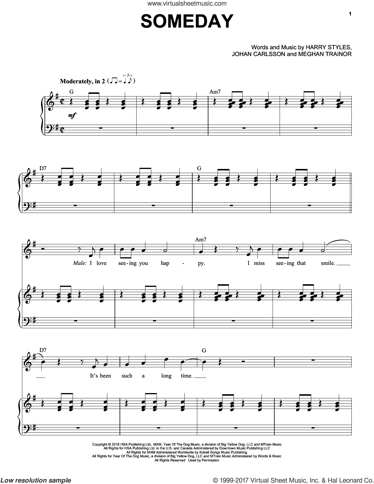 Someday sheet music for voice and piano by Michael Buble featuring Meghan Trainor, Michael Buble, Harry Styles, Johan Carlsson and Meghan Trainor, intermediate skill level