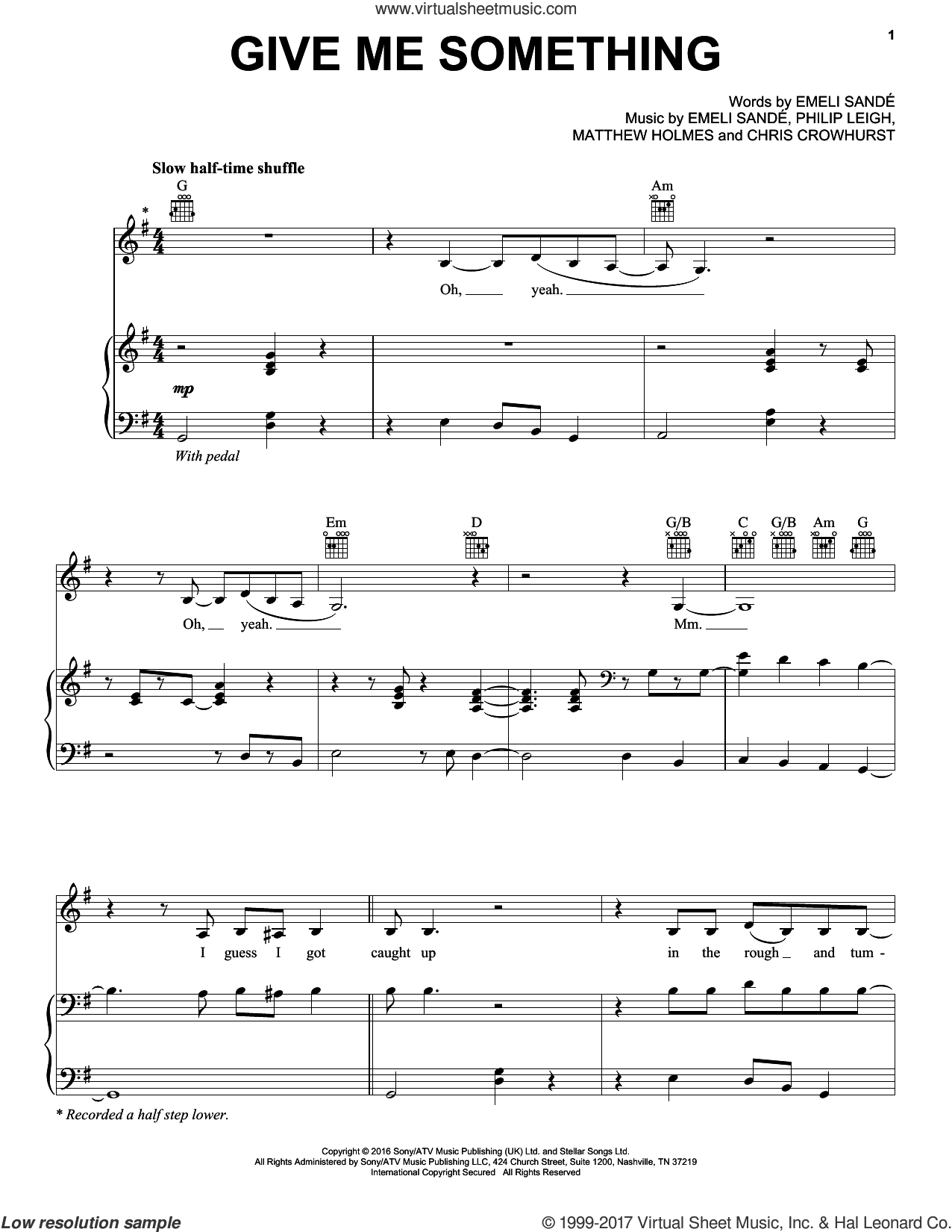 Give Me Something sheet music for voice, piano or guitar by Emeli Sande, Chris Crowhurst, Matthew Holmes and Philip Leigh, intermediate skill level