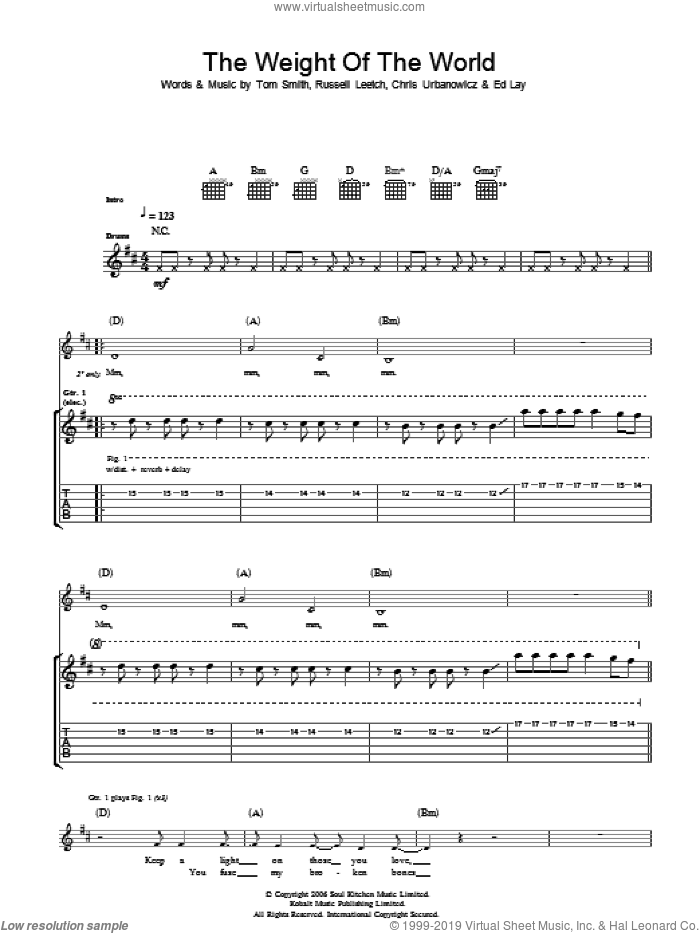 The Weight Of The World sheet music for guitar (tablature) by Chris Urbanowicz and Tom Smith. Score Image Preview.