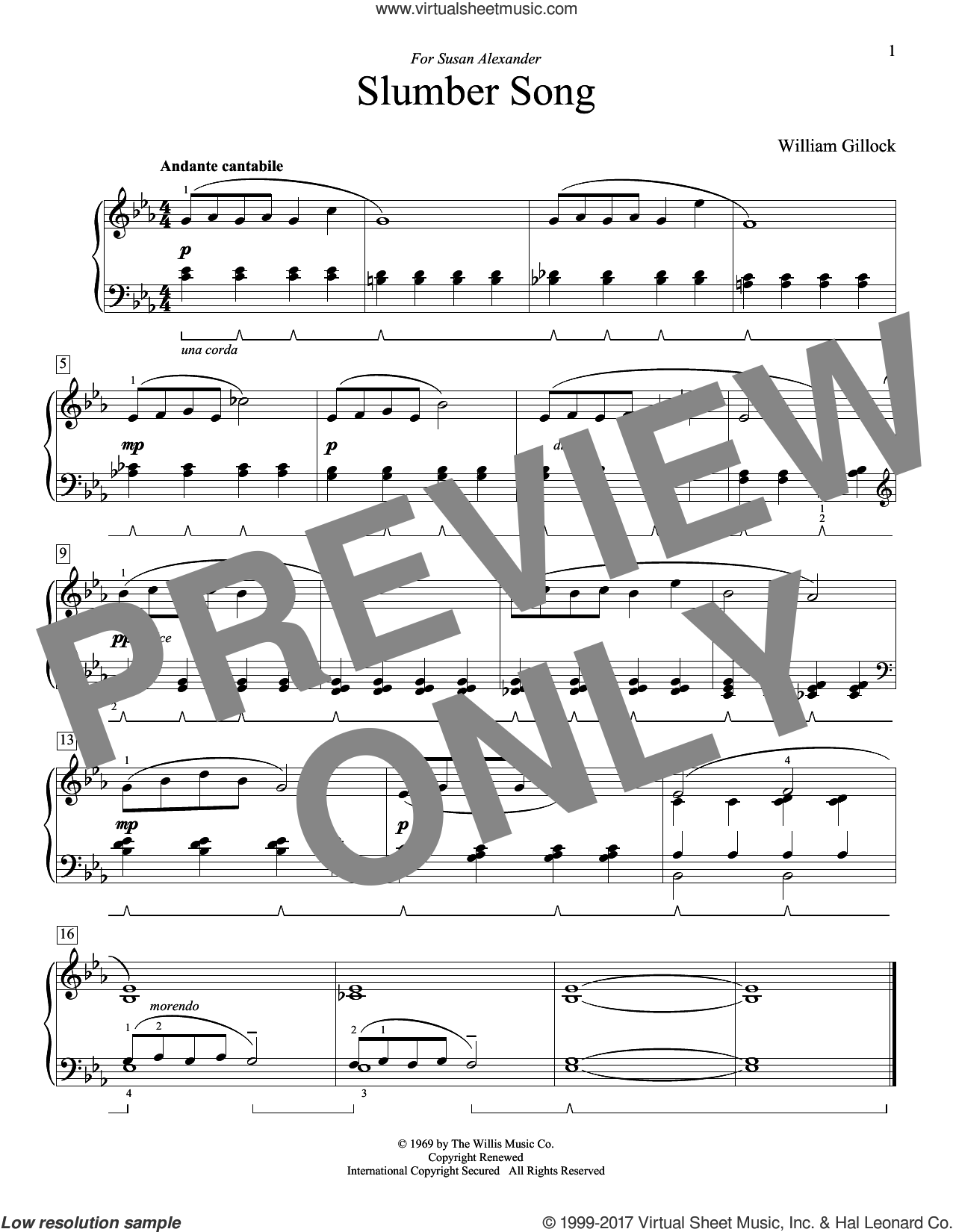 Slumber Song sheet music for piano solo (elementary) by William Gillock, beginner piano (elementary)