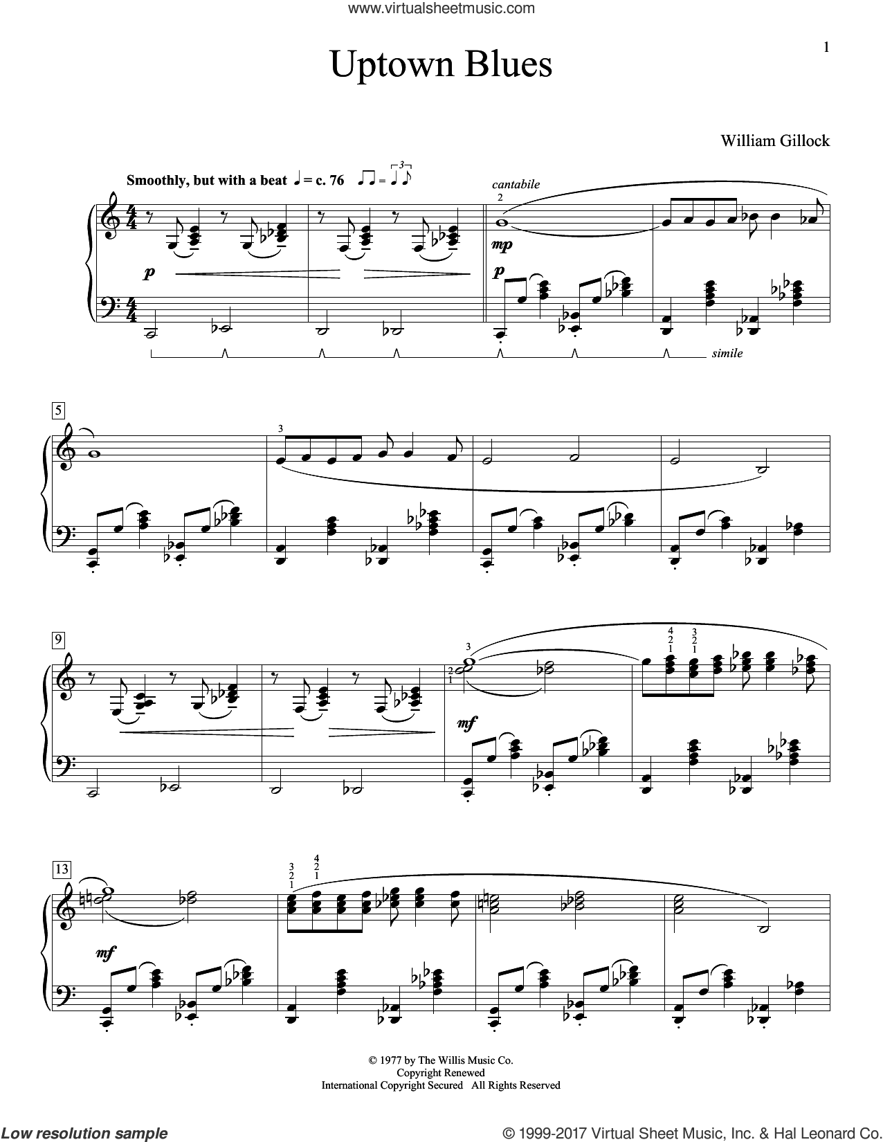 Uptown Blues sheet music for piano solo (elementary) by William Gillock, beginner piano (elementary)