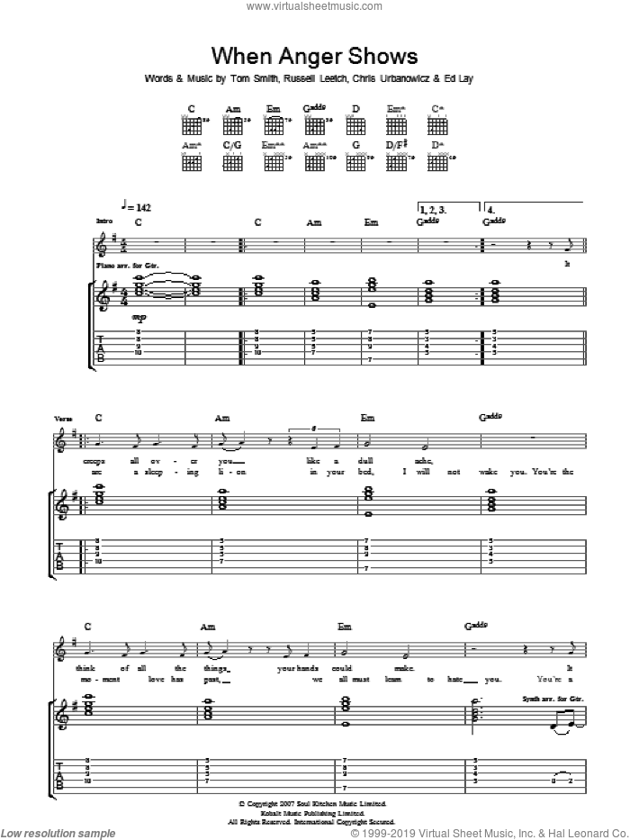 When Anger Shows sheet music for guitar (tablature) by Editors