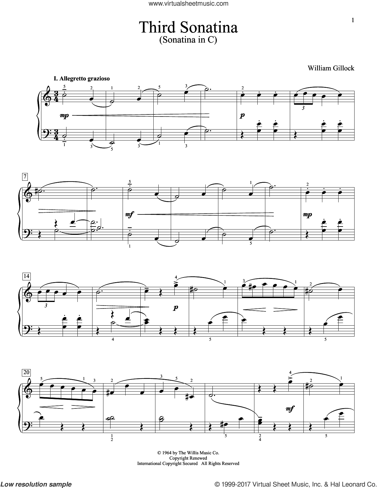 Third Sonatina (Sonatina In C) sheet music for piano solo (elementary) by William Gillock. Score Image Preview.