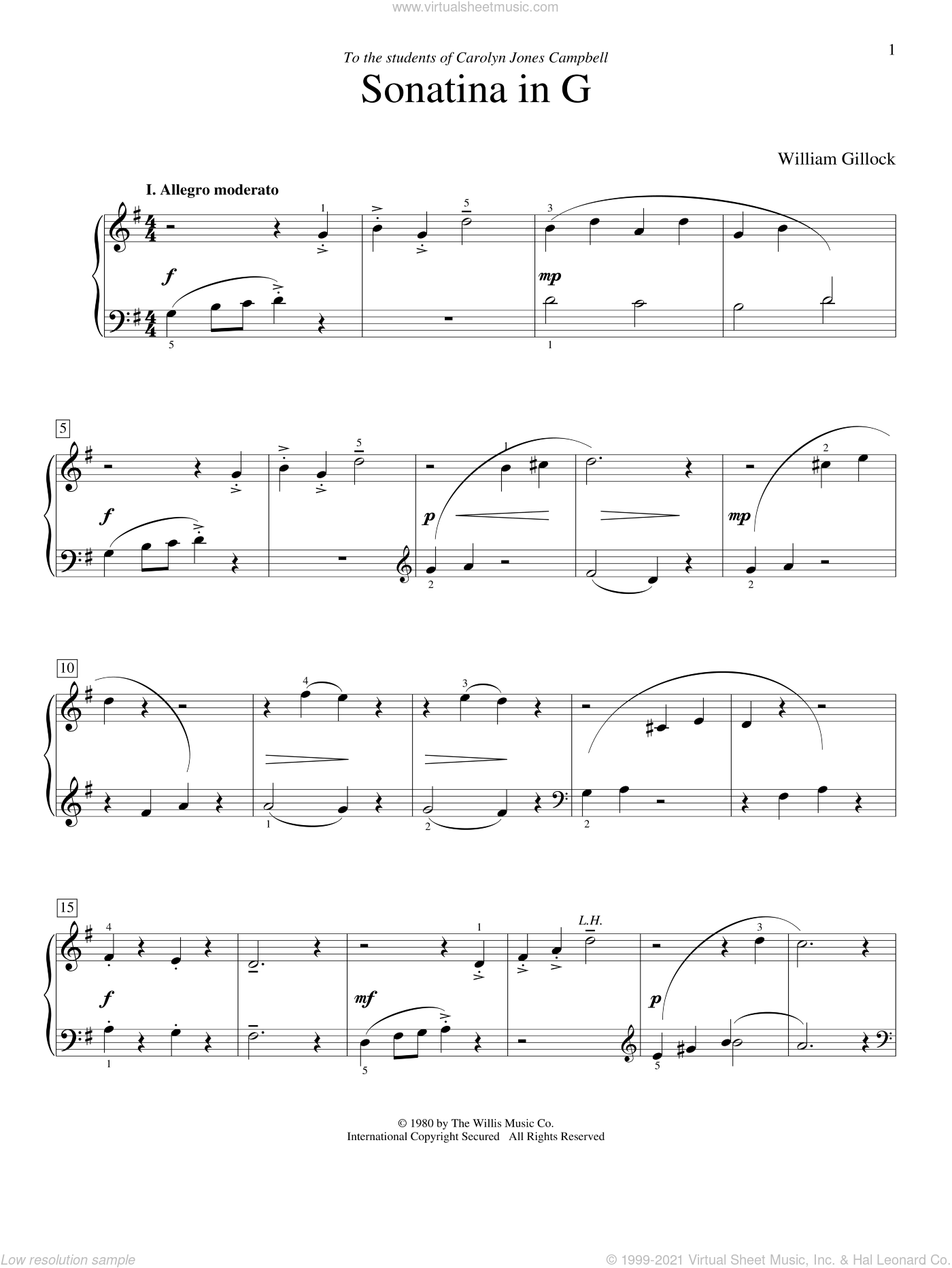 Sonatina In G sheet music for piano solo (elementary) by William Gillock, beginner piano (elementary)