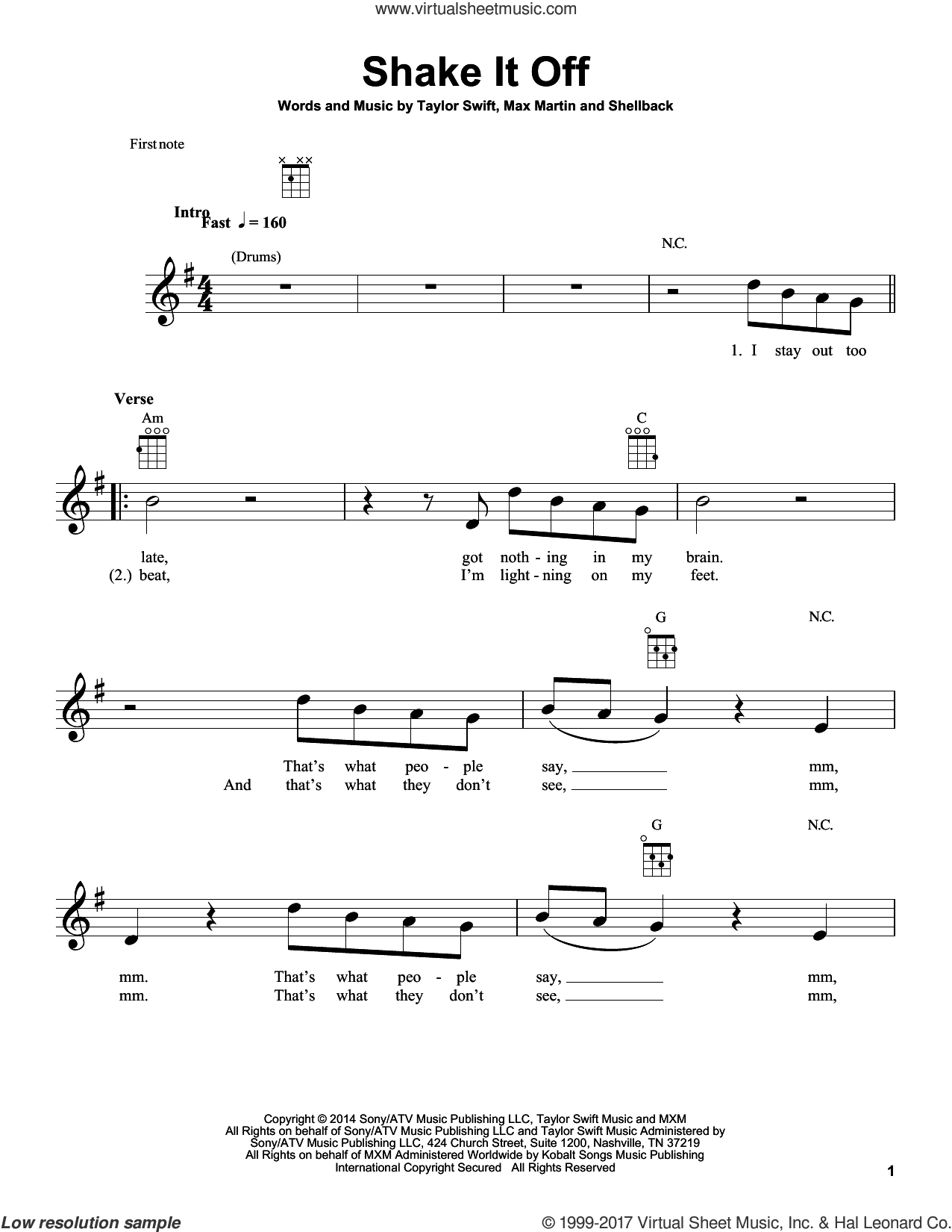 Shake It Off sheet music for ukulele by Taylor Swift, Johan Schuster, Max Martin and Shellback, intermediate. Score Image Preview.