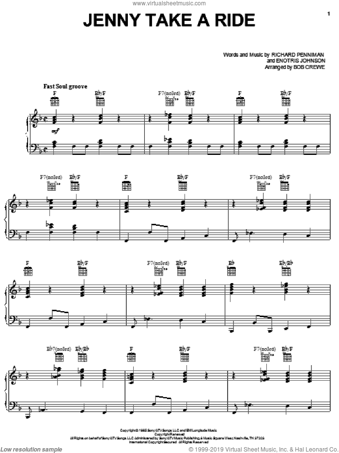 Jenny Take A Ride sheet music for voice, piano or guitar by Mitch Ryder & The Detroit Wheels, Bob Crewe, Emotris Johnson, Enotris Johnson and Richard Penniman, intermediate skill level