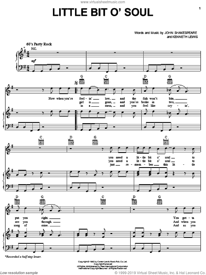 Little Bit O' Soul sheet music for voice, piano or guitar by The Music Explosion, John Shakespeare and Kenneth St. Lewis, intermediate skill level