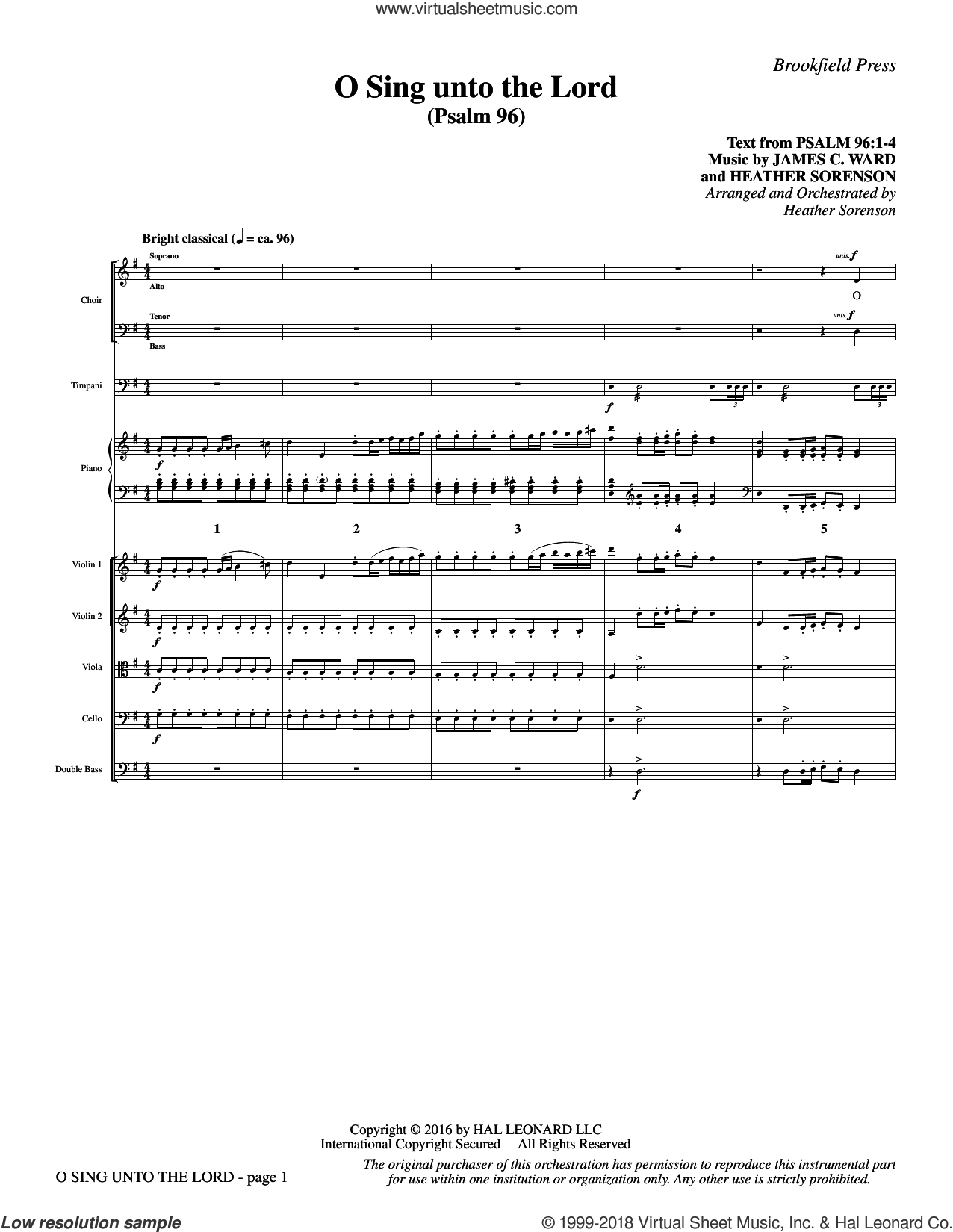 O Sing Unto the Lord (COMPLETE) sheet music for orchestra/band by Heather Sorenson and James C. Ward, intermediate skill level