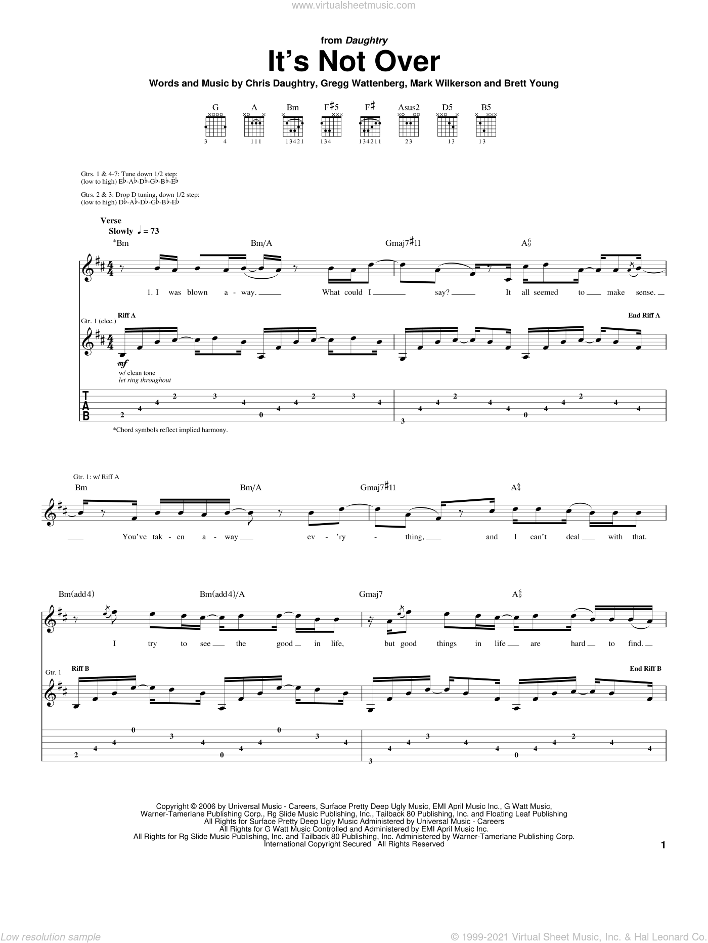 It's Not Over sheet music for guitar (tablature) by Daughtry, American Idol, Brett Young, Chris Daughtry, Gregg Wattenberg and Mark Wilkerson, intermediate skill level