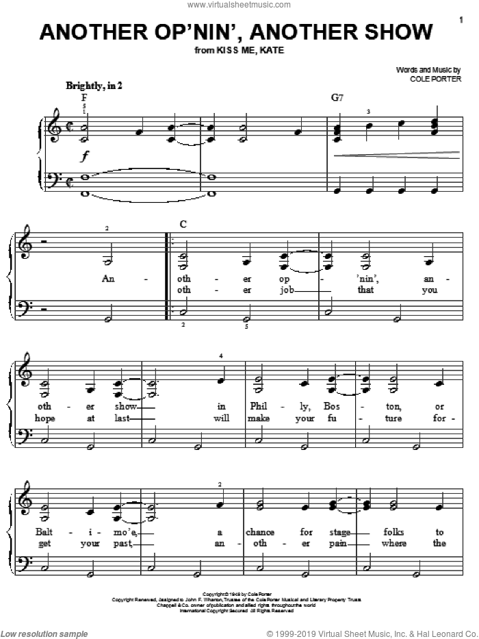 Another Op'nin', Another Show (from Kiss Me, Kate) sheet music for piano solo by Cole Porter and Kiss Me, Kate (Musical), easy skill level