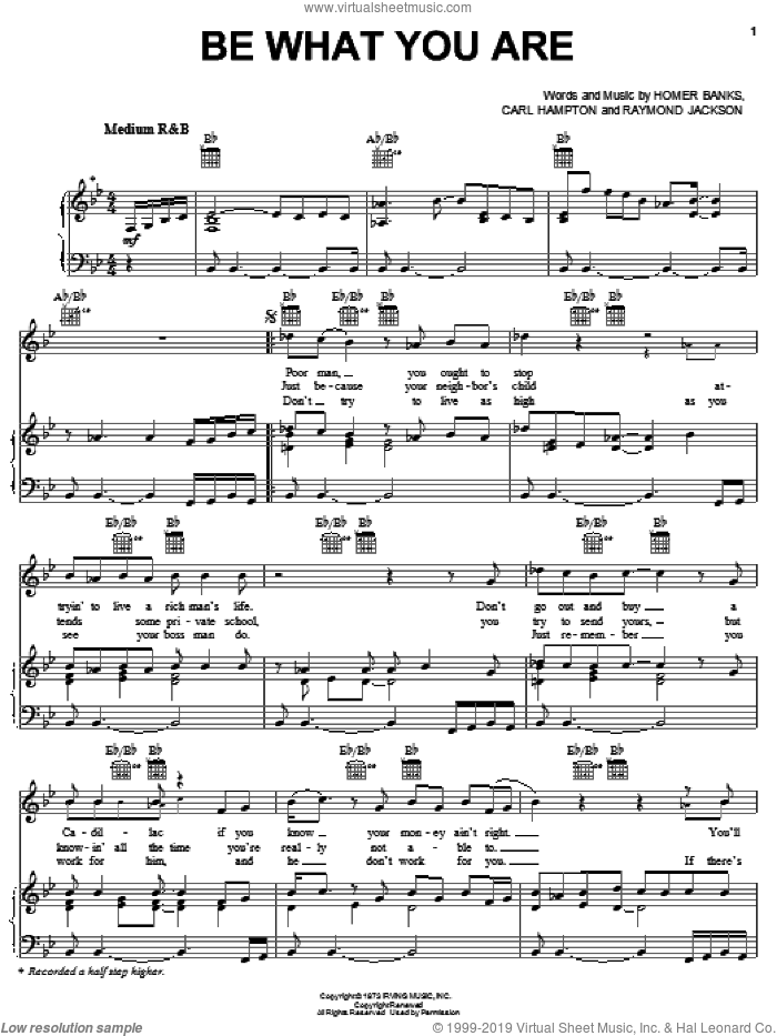 Be What You Are sheet music for voice, piano or guitar by Raymond Jackson, The Staple Singers, Carl Hampton and Homer Banks. Score Image Preview.