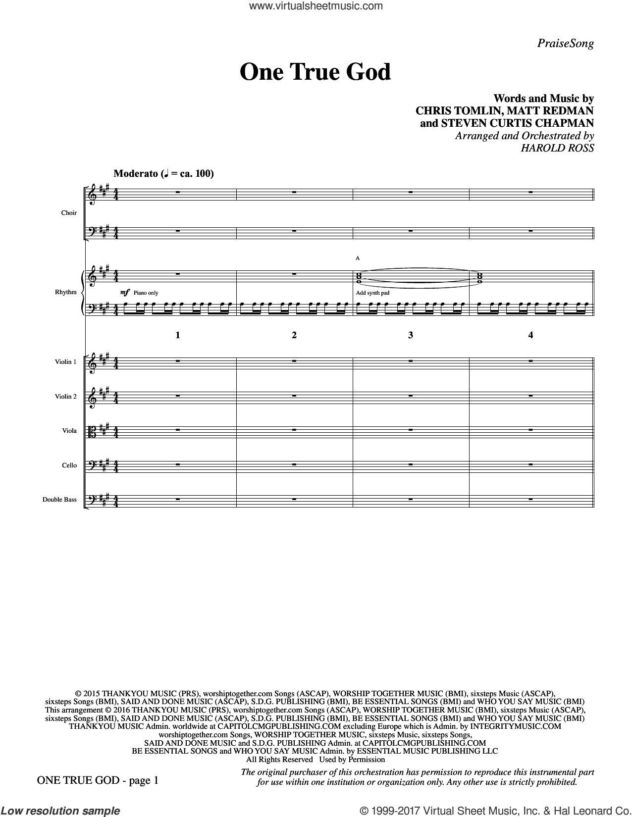 One True God (COMPLETE) sheet music for orchestra/band by Chris Tomlin, Harold Ross, Matt Redman and Steven Curtis Chapman, intermediate. Score Image Preview.