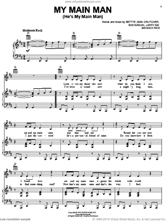 My Main Man (He's My Main Man) sheet music for voice, piano or guitar by The Staple Singers, Bettye Jean Crutcher, Bob Manuel, Larry Nix and Mack Rice, intermediate