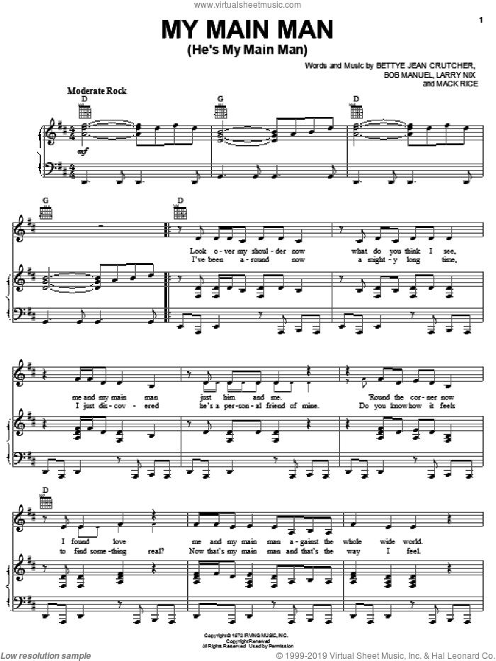My Main Man (He's My Main Man) sheet music for voice, piano or guitar by The Staple Singers, Bettye Jean Crutcher, Bob Manuel, Larry Nix and Mack Rice, intermediate skill level