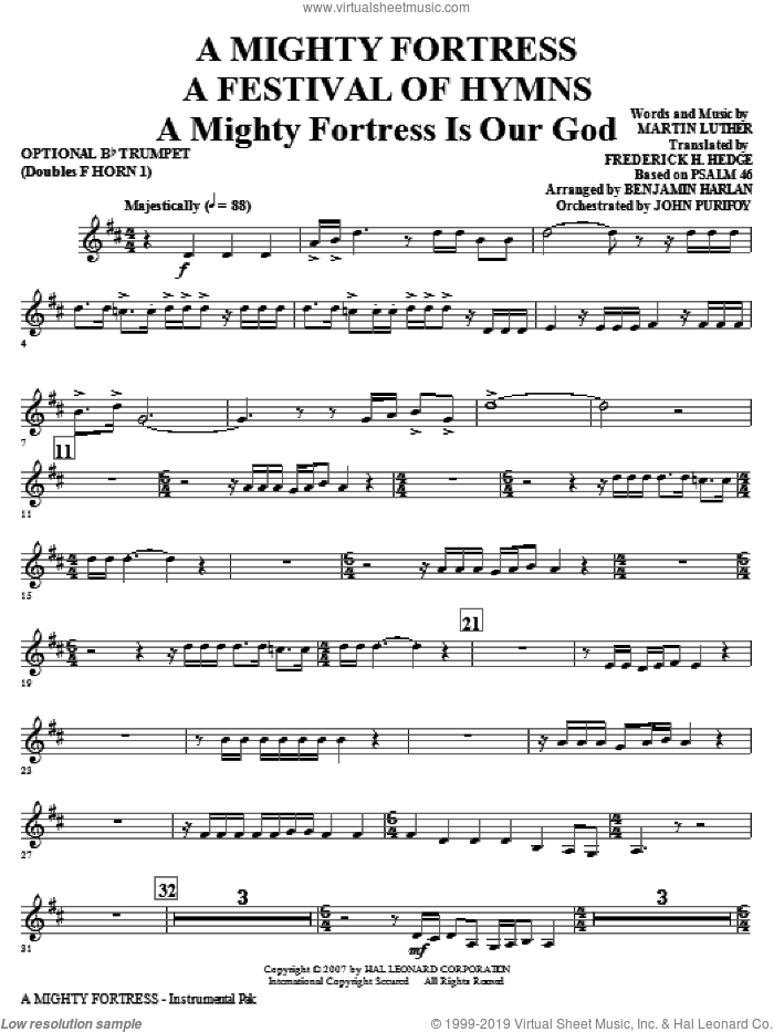 A Mighty Fortress, a festival of hymns sheet music for orchestra/band (opt. trumpet, doubles horn 1) by Benjamin Harlan, Henry F. Lyte, John Purifoy, Mark Hill and William Henry Monk, intermediate skill level