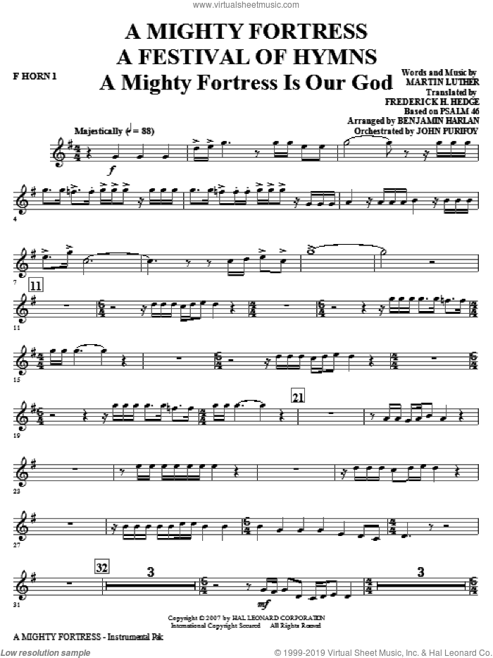 A Mighty Fortress, a festival of hymns sheet music for orchestra/band (f horn 1) by Benjamin Harlan, Henry F. Lyte, John Purifoy, Mark Hill and William Henry Monk, intermediate skill level