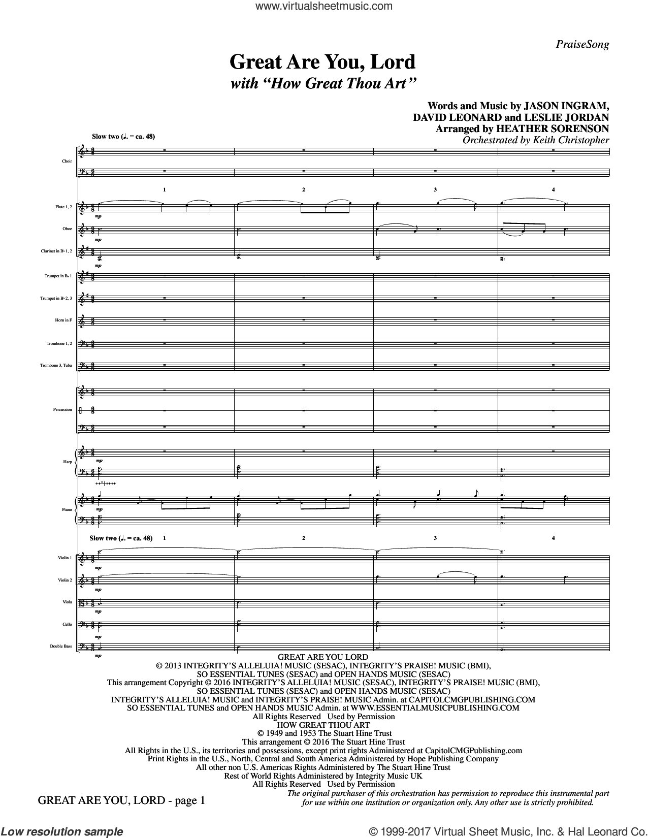 Great Are You Lord (with How Great Thou Art) (COMPLETE) sheet music for orchestra/band by Heather Sorenson, All Sons and Daughters, Casting Crowns, David Leonard, Jason Ingram, Leslie Jordan, One Sonic Society and Stuart K. Hine, intermediate skill level