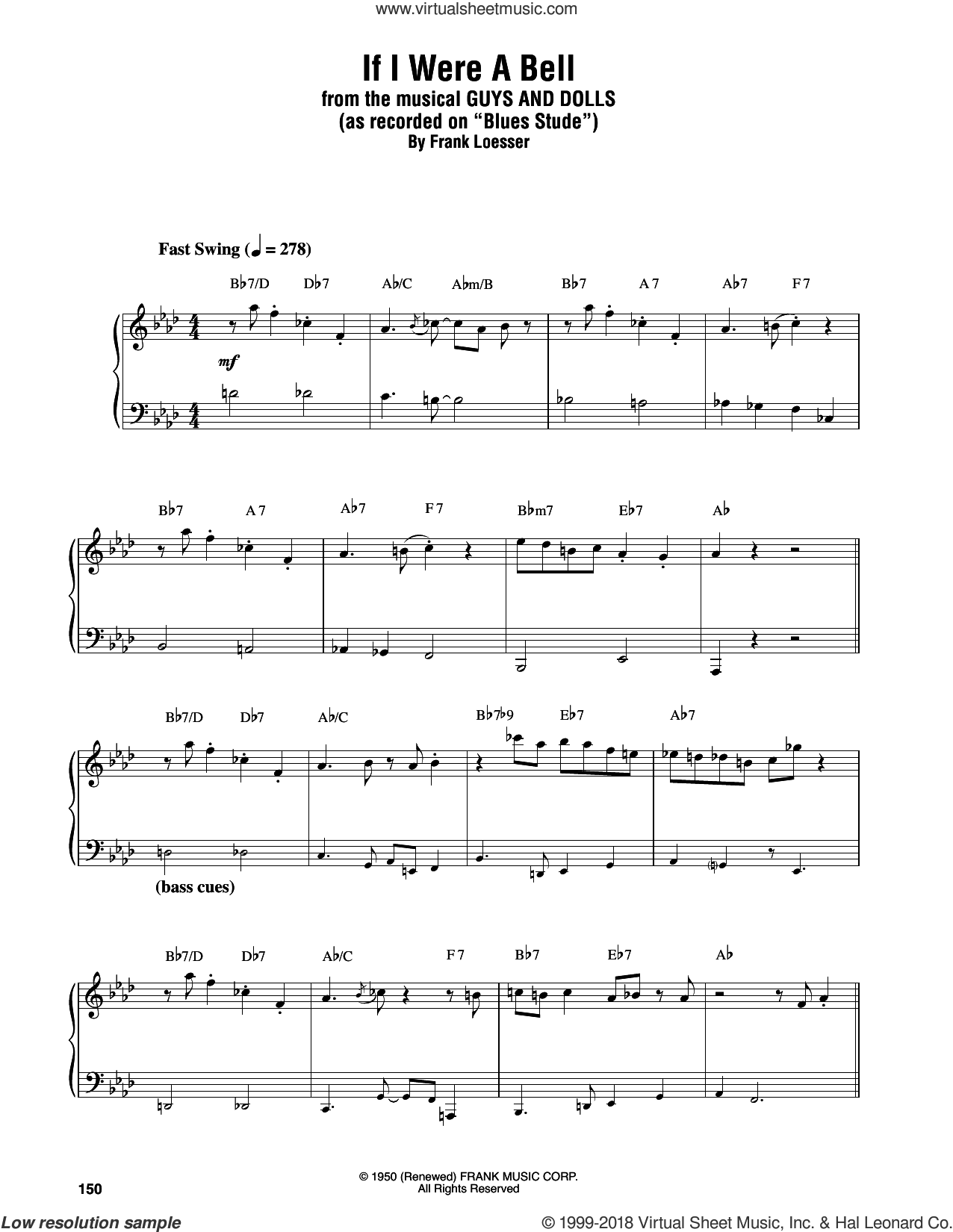 If I Were A Bell sheet music for piano solo (transcription) by Oscar Peterson and Frank Loesser, intermediate piano (transcription)