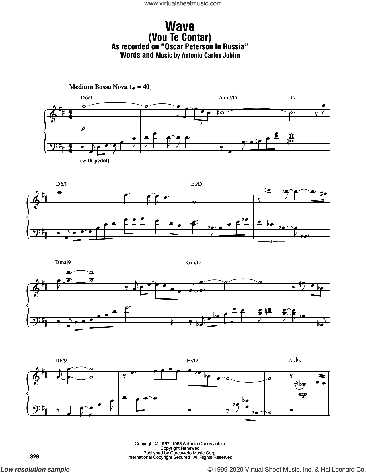 Wave sheet music for piano solo (transcription) by Oscar Peterson and Antonio Carlos Jobim, intermediate piano (transcription)