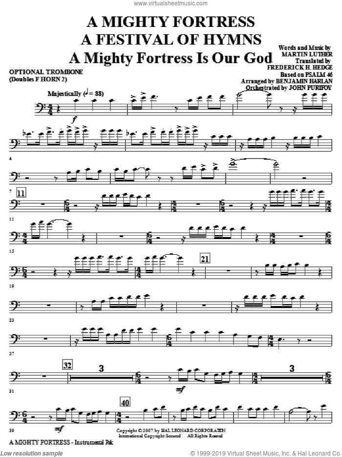 A Mighty Fortress, a festival of hymns sheet music for orchestra/band (opt. trombone, doubles horn 2) by Benjamin Harlan, Henry F. Lyte, John Purifoy, Mark Hill and William Henry Monk, intermediate skill level