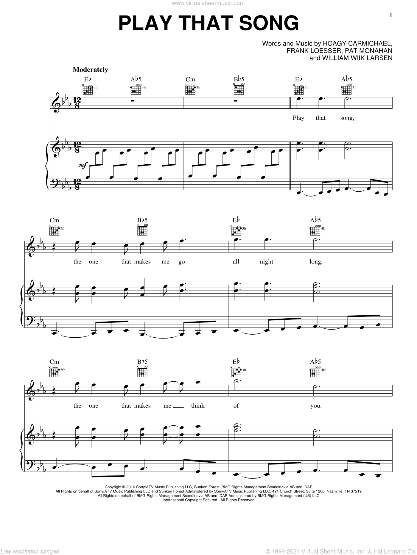 Play That Song sheet music for voice, piano or guitar by Train, Frank Loesser, Hoagy Carmichael, Pat Monahan and William Larsen, intermediate skill level