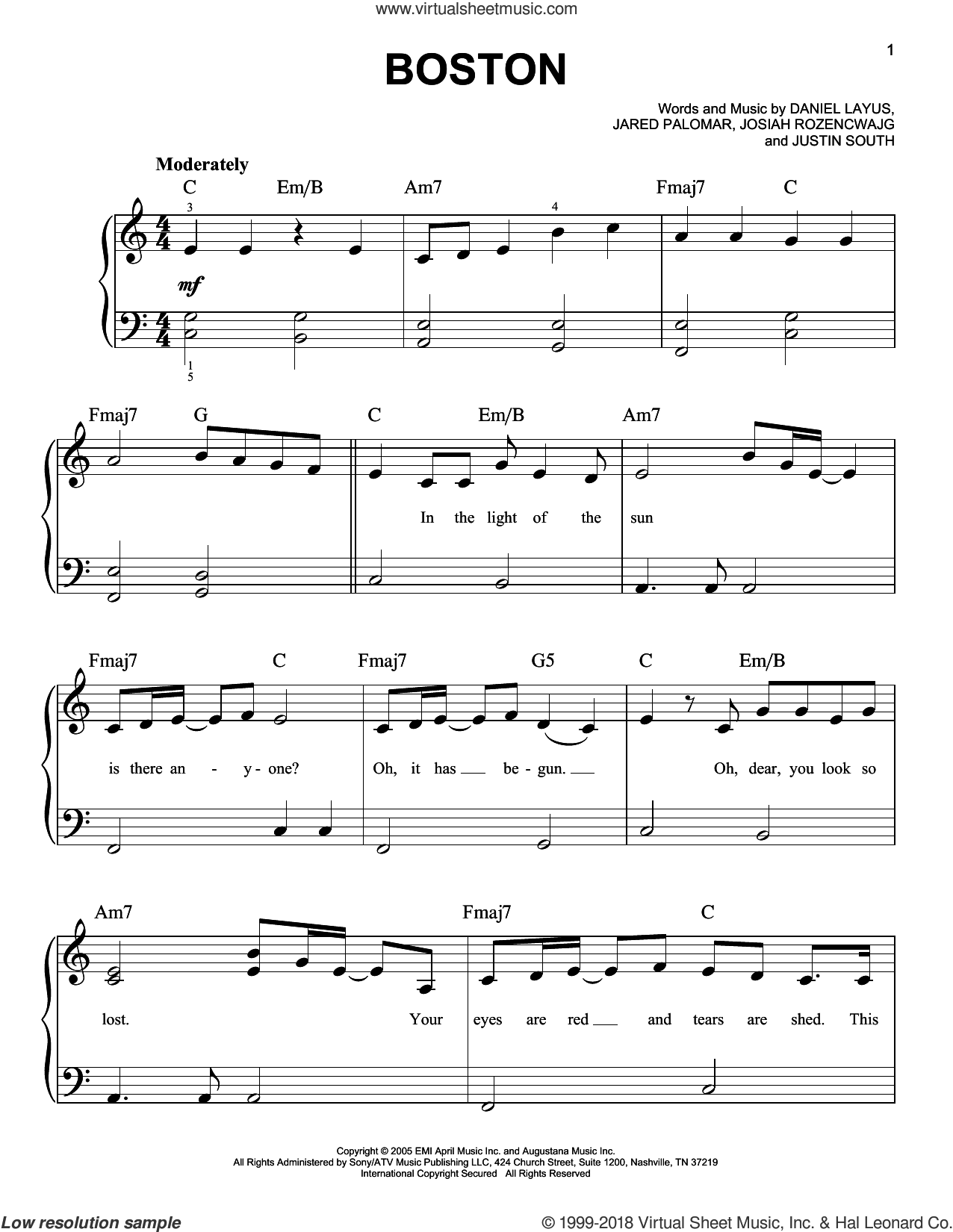 Boston sheet music for piano solo by Augustana, Daniel Layus, Jared Palomar, Josiah Rozencwajg and Justin South, easy skill level