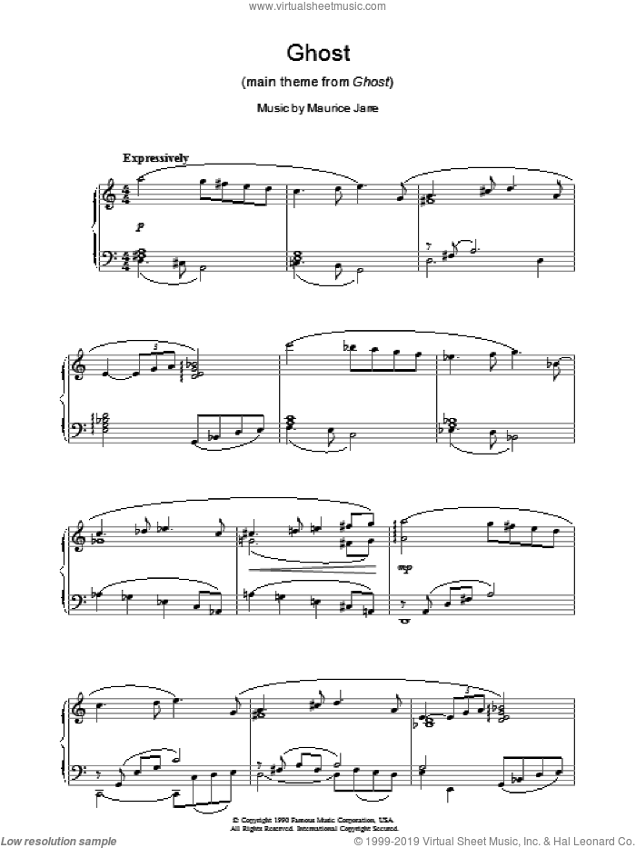 Ghost (Theme) sheet music for piano solo by Maurice Jarre. Score Image Preview.