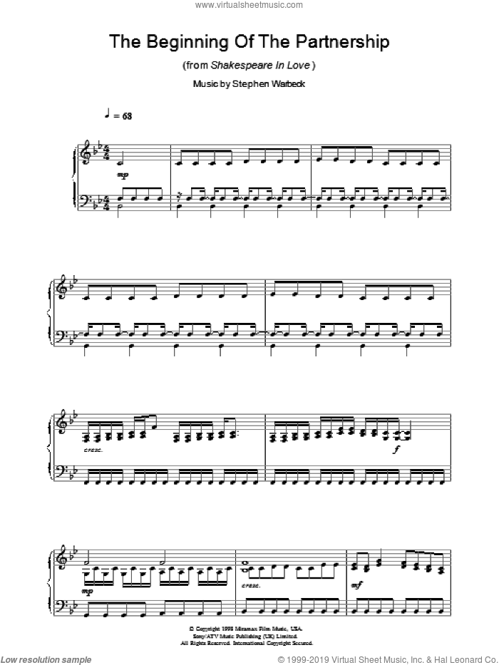 The Beginning Of The Partnership (from Shakespeare In Love) sheet music for piano solo by Stephen Warbeck, intermediate skill level