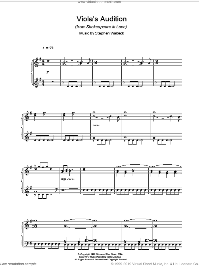 Viola's Audition (from Shakespeare In Love) sheet music for piano solo by Stephen Warbeck. Score Image Preview.