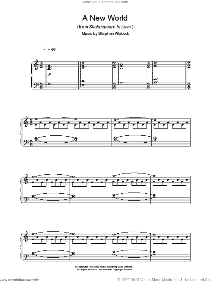 A New World (from Shakespeare In Love) sheet music for piano solo by Stephen Warbeck, intermediate. Score Image Preview.