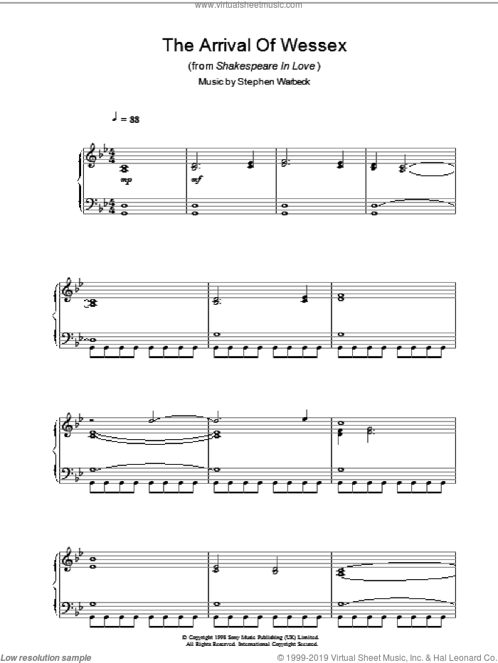 The Arrival Of Wessex (from Shakespeare In Love) sheet music for piano solo by Stephen Warbeck, intermediate. Score Image Preview.