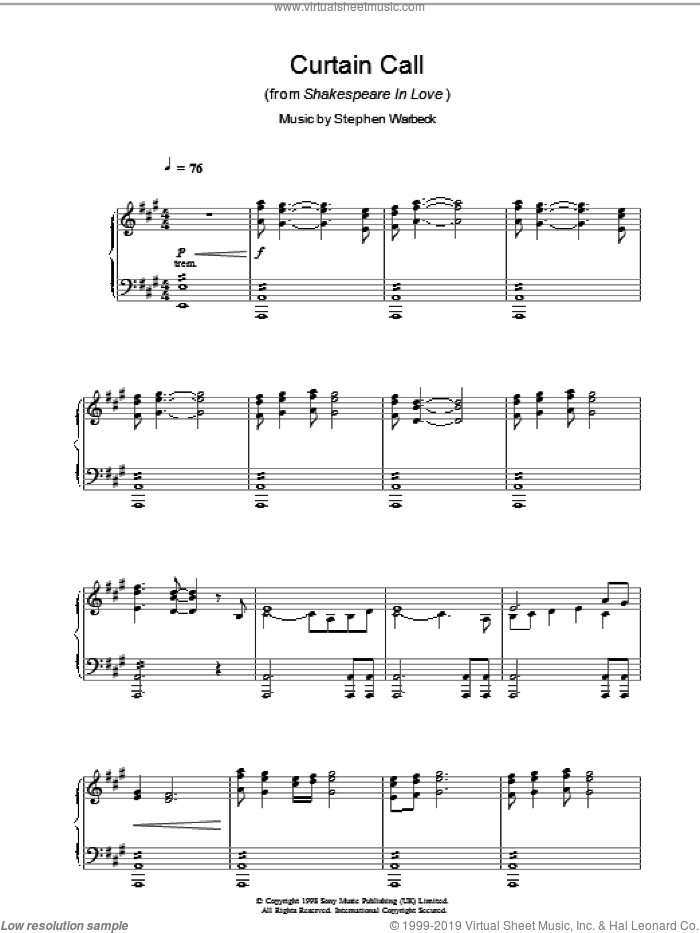 Curtain Call (from Shakespeare In Love) sheet music for piano solo by Stephen Warbeck. Score Image Preview.
